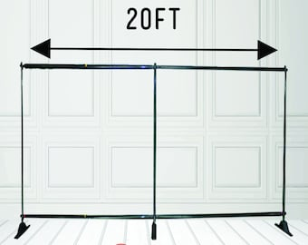 20ft W by 8ft H Adjustable Telescopic Backdrop Stand - Aluminum Backdrop Stand Black