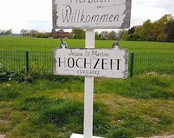 Welcome to stand, signpost (wedding) Variante6 wedding/vintage/boho/individual/handmade/door sign