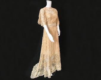 Edwardian Tape Lace Wedding Dress