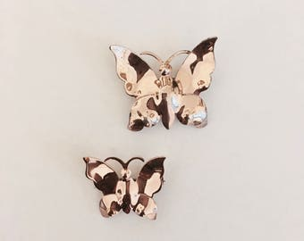 Very pretty Vintage 1940s Sterling Silver Butterflies (Duo) pins with Gold Wash Mirror Finish