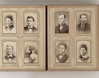Beautiful Victorian Photo Album with 56 Victorian photographs, 28 Carte De Visite, CdV, 25 Cabinet photos,  3 Tin Types