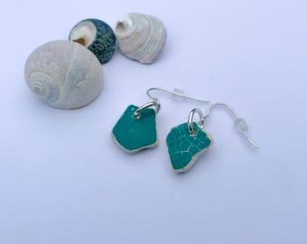 Sterling silver & teal sea pottery earrings