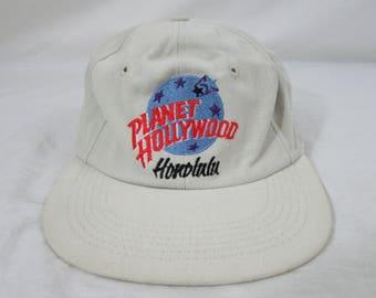Vintage 90s Planet Hollywood Honolulu Hawaii White Hat Cap