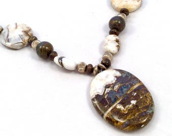 Brown, Grey, White stone Pendant Necklace
