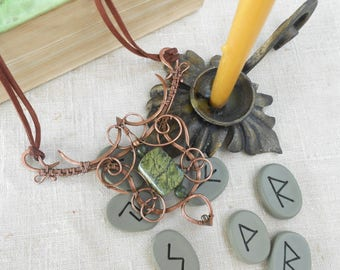 Natural Green Serpentine Necklace Forest Spirit Serpentine of Copper Pendant Green stone amulet Serpentin Amulet Boho wire wrap necklace