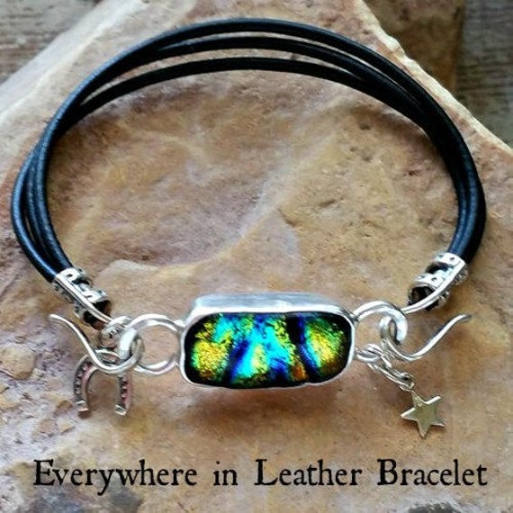 Memorial Blown Glass Leather Bracelet with Sterling Silver