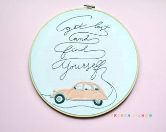 "Quote ""Get lost and find yourself"" PDF Embroidery Pattern, hand embroidery, Digital download"