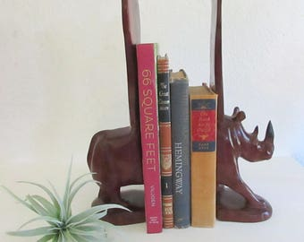 Vintage Carved Rhino Wood Bookends, Safari Bookends, Nursery Animal Decor, Nursery Bookends, Animal Bookends, Rhinoceros Art, Wood Bookends