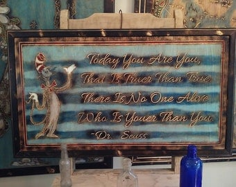 Dr Susse quote Wood Carving Wall Art
