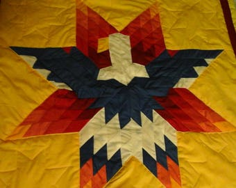 Authentic Native American star quilt Yellow