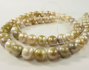 8 - 9 mm Seaweed Color Potato Freshwater Pearl Beads, Natural Color Freshwater Pearls, Genuine Feshwater Pearls, Natural Pearl (88-PSW0809)