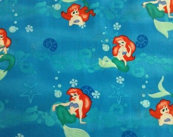 Little Mermaidl/Disney/on blue background cotton fabric by the yard