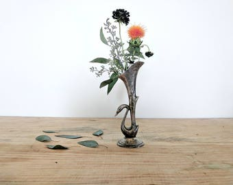 silver bud vase | swan lily art deco vase | flower holder