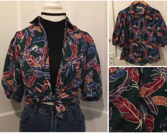 Vintage Tropical Colorful Feather Print Button Up Top size 12 Medium / Large Cheryl Fiego 80's 70's Turquoise Hipster Festival