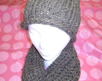 Thick Warm Knitted Gray Hat and Scarf Combo