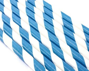 10 Paper Straws - Teal and White Stripes - Party Supply Bird Toy Part Tableware