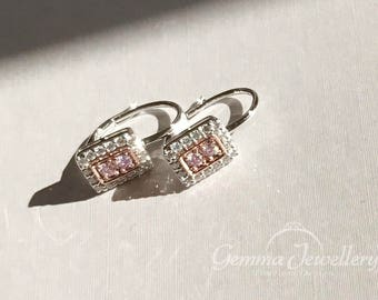 Natural Untreated Pink Diamond Earrings