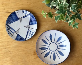 Vintage Blue and White Ceramic Dishes, Ring Trays