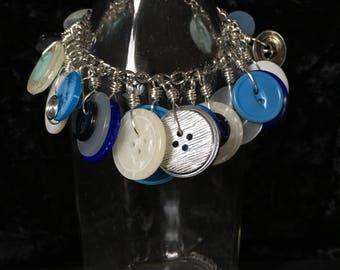 Repurposed Vintage Blue Button Chunky Bracelet