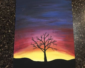 "8""x10"" Acrylic painting of a sunset, tree on hills"