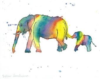 8X 10 Baby Elephant Art Print | Wildlife Original Art | Nursery Room Wall Decor | Kid's Room Decor | Baby Room Art | Rainbow Animal Art