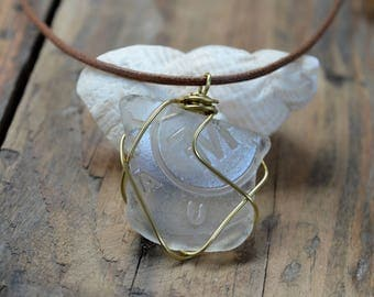 Scottish Sea Glass Pendant, Sea Glass Necklace with Original Engravings, Brass Wire Sea Glass Pendant, Pendant, Gifts for Her, Beach Chic