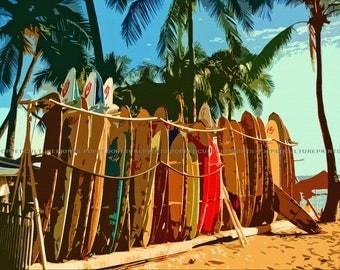 Surfboard Art, Print or Canvas, Beach Wall Decor, Surfing Lover Picture, Cool Surfer Art, Hawaii, Island Life, Tropical Ocean Surfboarding