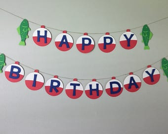 Birthday Bobber Banner for Fishing or oFISHally theme Party