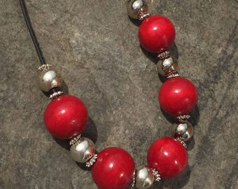 Red and Silver chunky necklace