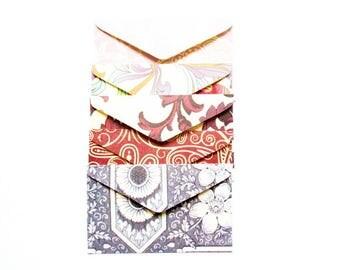 set of 5 mini envelopes 6, 5x4cm various Z32 patterns