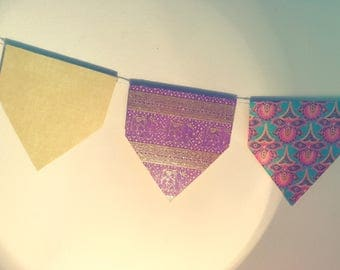Bohemian Squared Point Bunting (Purple & Yellow)