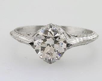 Old European Cut  Diamond  Engagement Ring Hand Engraved Platinum Antique Art Deco Art Nouveau Edwardian Vintage