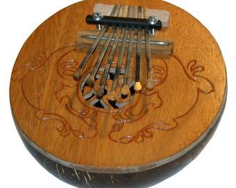 Kalimba Thumb Piano, Coconut Shell, 7 Keys
