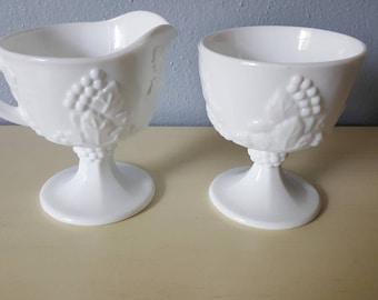 Vintage milk glass creamer set