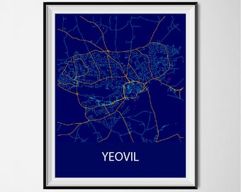 Yeovil Map Poster Print - Night