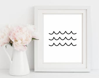 Waves Minimal Art Print, Printable Wall Art, Black And White, Baby Shower Gift, Nursery Wall Art, Minimal Wall Art, Ocean Wall Decor Print