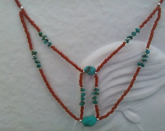 Turquoise Multi Tiered Bead Necklace