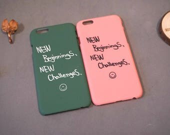 New beginnings new challenges, Postive Slogan iPhone 6s case, iPhone 6 case, iPhone 6 cover, Cute iPhone 6 case,  iphone se case, iPhone 5s