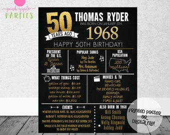 50th Birthday Chalkboard Poster - Back in 1968 - 50 Years Ago Poster - 50th Birthday Gift - Milestone Birthday - Printed Poster OR Printable
