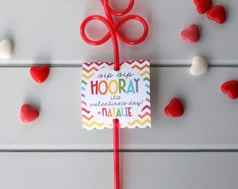 INSTANT DOWNLOAD - Crazy Straw Valentine, Printable Valentine, Non Candy Valentine, School Valentine Cards for Kids