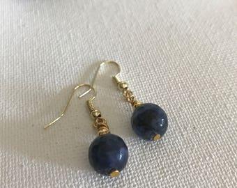 Lapis drop earring/Simple statement earrings/gemstone earrings/Blue earrings