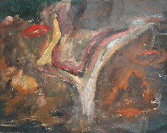 Vintage abstract oil painting landscape