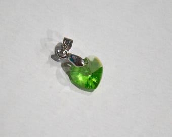 Small Peridot Swarovski Crystal Heart Pendant - Collar Add-on