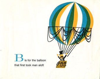 1960's Children's Alphabet Illustration Print - B is for Balloon