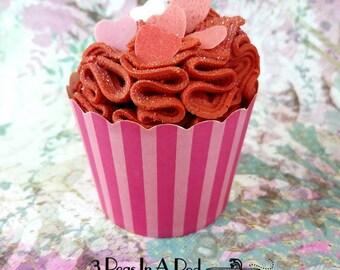 Chocolate Covered Strawberry Bath Cupcakes