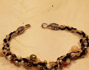 Braided beaded ankle bracelet
