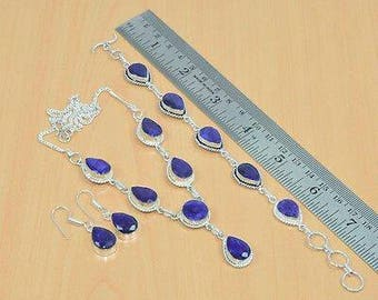 SALE, Free Shipping Natural Blue Sapphire & Silver Jewelry Set