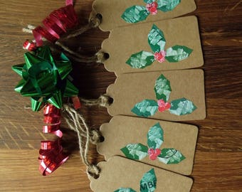Pack of 5 Christmas Gift Tags - Holly Leaves - Stamp Art - Handmade