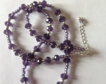 Purple crystal glass necklace beaded necklace amethyst necklace crystal glass necklace handmade beaded necklace