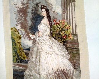"NEW Handmade Wiehler gobelin - ""Empress Sissi - the Queen of Austria in lace dress"""